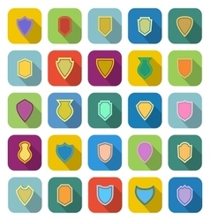 Shield color icons with long shadow vector image