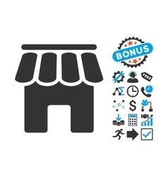Shop Building Flat Icon with Bonus vector image