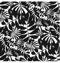 silhouette black and white tropical seamless vector image