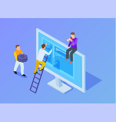 smm managers web content management isometric vector image