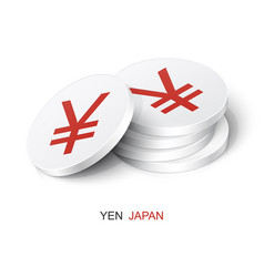 Stack white tokens with yen sign vector