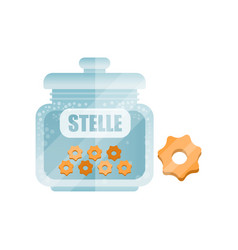 Stelle dry pasta in a transparent glass container vector