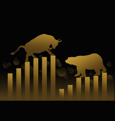 Stock market concept design of gold bull and bear vector