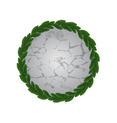 stone with circle leaves frame vector image