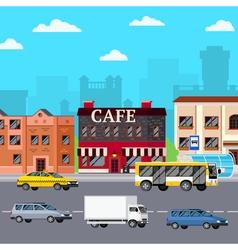 Street cafe urban composition vector