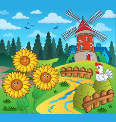 Sunflowers near windmill vector