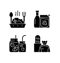 Takeaway and delivery option black glyph icons vector