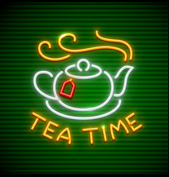tea time neon icon with hot vector image