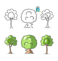 tree icon trees symbols isolated on white vector image