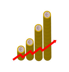 upward graph made with one euro coins vector image