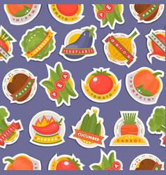 vegetables label logo badge design template vector image