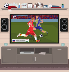 Viewing soccer game at home on tv vector