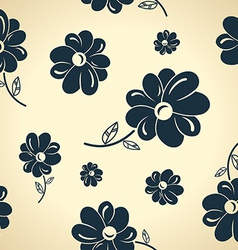 Vintage black flowers Seamless background vector