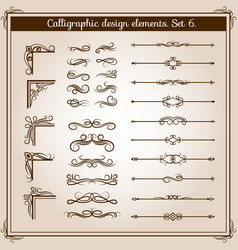 Vintage linear ornate decorative elements vector