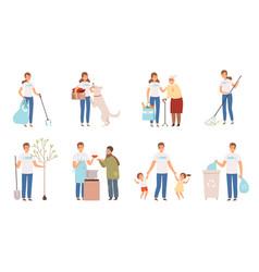 Volunteers characters people social working and vector