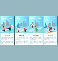 Wintertime posters with text vector