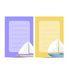 worldwide sailing card with sailboats vector image
