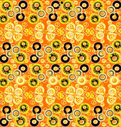 Yellow and black abstract background with circles vector image