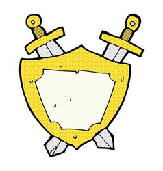 comic cartoon shield and swords vector image