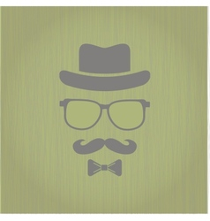 Hipsters hat glasses moustache vector image