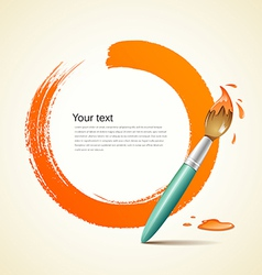 Paint brush orange background vector image vector image