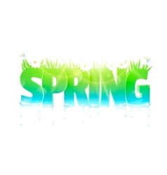 Spring word with flowers and grass vector image