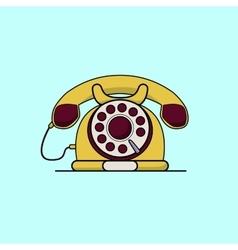 Vintage yellow telephone Line art flat vector image vector image
