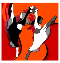 dancing girls in red vector image