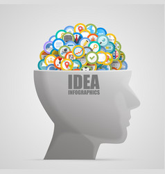 head with icons in the brain vector image vector image