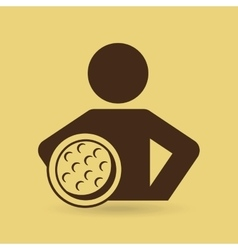 man hands on waist with golf ball icon vector image
