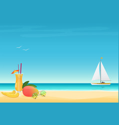 mango fruit cocktail on the sand beach background vector image