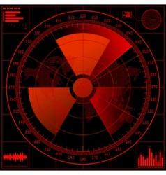 radar screen with radioactive sign vector image vector image