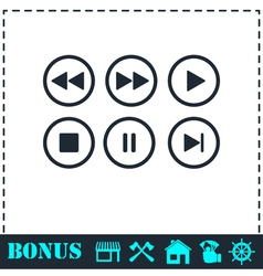 Video audio player buttons icon flat vector