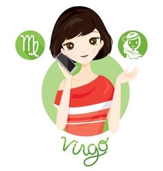Woman With Virgo Zodiac Sign vector image