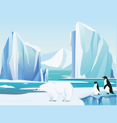 arctic landscape with polar vector image vector image