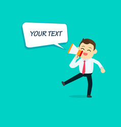 businessman with megaphone and speech text vector image vector image