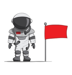 Cartoon astronaut with a flag vector image