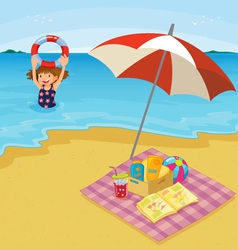 Child at the beach vector image vector image