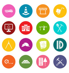 construction icons many colors set vector image