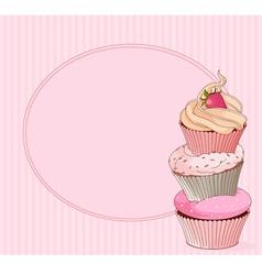 Cupcake place card vector