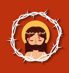 jesus christ with crown thorns sacred image vector image