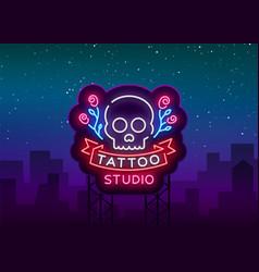 tattoo salon logo neon sign a symbol of a vector image