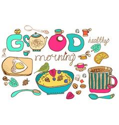 Vintage color morning tea background vector image vector image