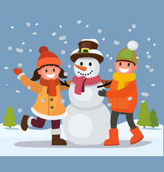 Children build snowman vector