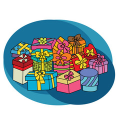 christmas gift boxes design set vector image vector image