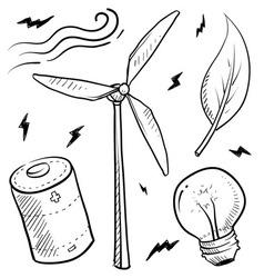 doodle power source wind vector image