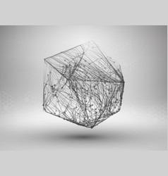 icosahedron with connected lines and dots vector image vector image