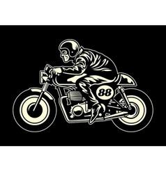 man ride a cafe racer vector image vector image
