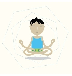 man sitting cross-legged meditating vector image