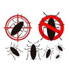 pest control cockroach icon set vector image
